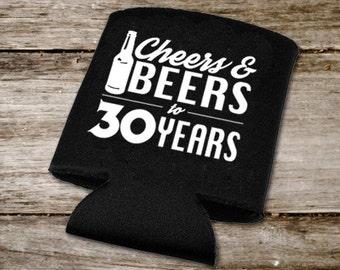 Cheers & Beers Decal, 30th Birthday Drink Huggers DIY, Cheers and Beers SVG, Cheers and Beers to 30 Years DIY Stickers