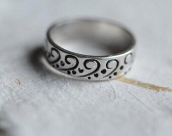 Pattern Ring, Simple Bands, 925 Sterling Silver Rings, Stacking Rings, Stackable Rings, Personalised Rings, Boho Rings, Bohemian Rings