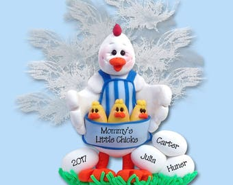 Half Baked Hens Mom or Grandma with 3 Baby Chicks HANDMADE POLYMER CLAY Personalized Christmas Ornament