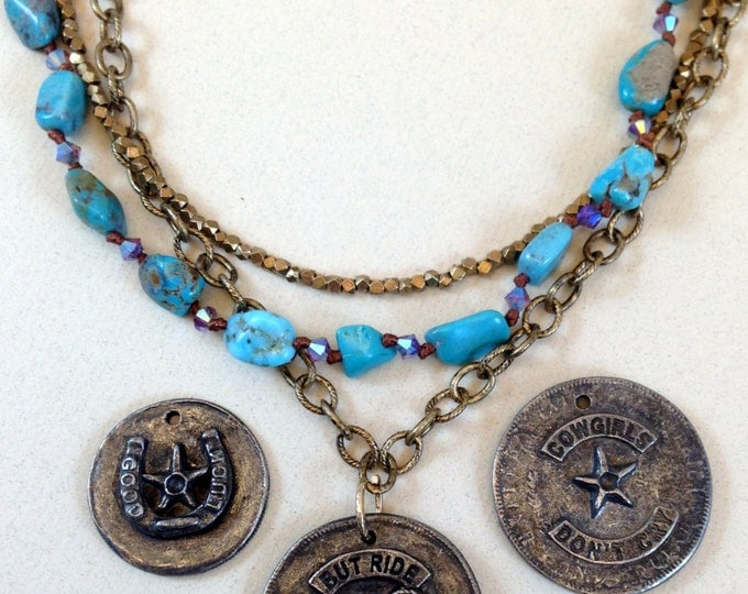 Rockstar Cowgirl Bronze Chain and Hand Knotted Silk Genuine Turquoise Necklace with Cowgirl Pendant