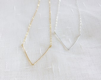 V for victory (necklace) - Sterling silver chevron necklace, hand forged, hammered V charm