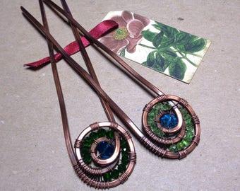 Set of 2 Copper Hair Pins - Beaded Hair Forks - Boho Hair - Beach Hair Accessories - Summer Fashion - Hair Jewelry - Handmade Gift for Her