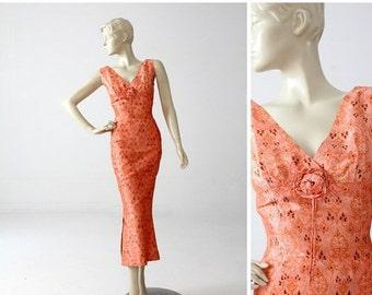SALE 1960s Asian style maxi dress, peach floral satin long dress