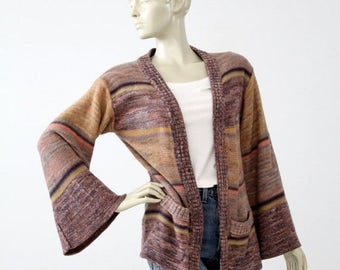 SALE 1970s hippie cardigan sweater, vintage boho knit jacket