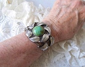 Vintage Sterling Silver Cuff Bracelet Turquoise Native American Bracelet Navajo Styling 1960s