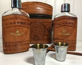Vintage Leather Flask Set - Whisky & Cognac Portable Bar  - 5 Piece Set