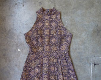 Vtg Purple Gold Metallic Floral Brocade Mini Dress Size Small Medium 90's