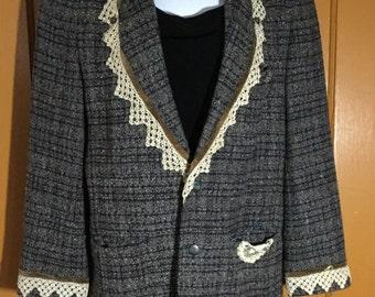 Vintage Upcyled Blazer with Antique Lace, Rhinestones & Velvet