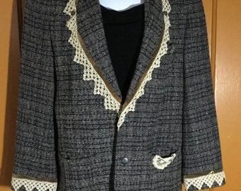 Vintage Upcyled Blazer with Antique Lace, Rhinestones & Velvet