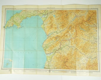 Vintage Mid Wales Map - Welsh Vintage Bartholomews Map, Gift for Guys, Office Decor,  Home Decor