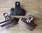 Set of 3 Vintage Metal -  Clips Binder Clips - Industrial Office Esterbrook - Boston Clip