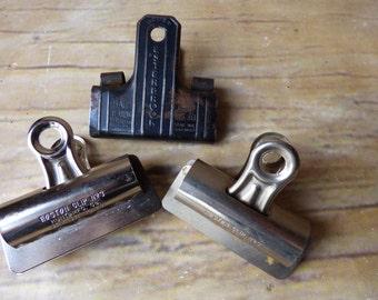 Set of 3 Vintage Metal -  Clips Binder Clips - Industrial Office Esterbrook - Boston Clip
