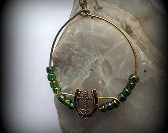Gold Hoop Earrings - Horseshoe and Cross Hoop Earrings - Hoop Earrings with Irridescent green beads