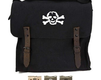 Scribble Skull Vintage Medic Bag Army Canvas Shoulder bag  - 001