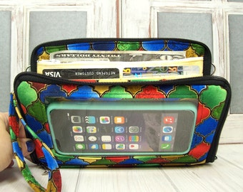 Womens Wallet • cell phone wallet • Bifold • Zip Around • Stained glass • Keep in Touch MEGA Wallet  • 1b
