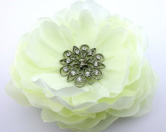Cream White Crystal Peony Silk Flower Brooch Pin