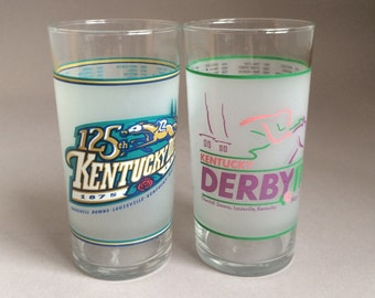 Vintage Kentucky Derby Mint Julep Drink Glasses 1992 and 1999, 118th and 125th runnings Official Harry M Stevens