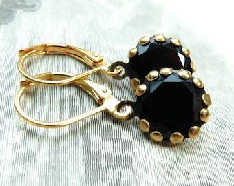 Black Rhinestone Dangle Gold French Clip Earrings - 5 Colors
