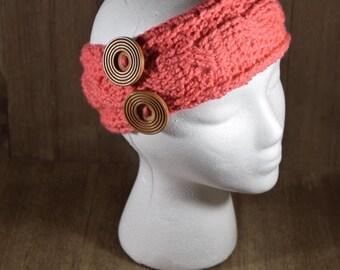 Cable Stitch Crochet Ear Warmer Headband - Papaya