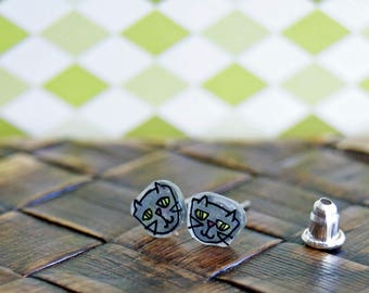 Grey Cats, Illustrated Hand-Made Post Earrings