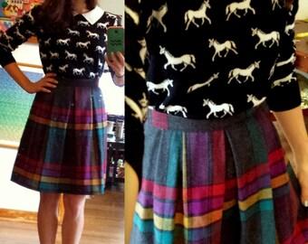 Plaid Wool Vintage Women's Skirt