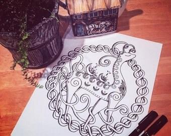 Fantasy Creature Adult Coloring Page Original Art Doodle Kids Activity