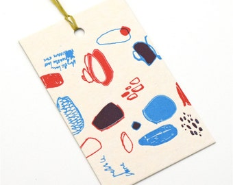 letterpress gift tag / pebble and stone / upcycled calendar / tag / swing tag / gift giving / single tag / letterpress print