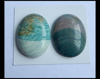 SALE! 2 PCS Wave Jasper Gemstone Cabochon,40x30x9mm,32.25g