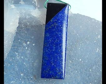 New Design!! Lapis Lazuli,Obsidian Intarsia Gemstone Pendant Bead,50x15x6mm,10.9g