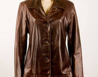 Vintage Leather Jacket, Genuine Leather Coat, Womens Medium