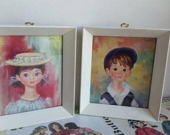 Vintage Big eyed Boy Girl Kitsch framed  pair prints  brother sister Soulet nursery decor lot of 2