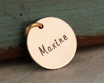 Hand Stamped Jewelry -  Personalized 14K Yellow Gold Filled Disc round charm - One Name Small Flat Tag