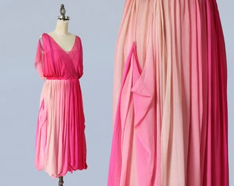 RARE!!! 1920s Dress / 20s Layered Ombre Pink Dress / Incredible Construction / Hot Pink to Pale Baby Pink / Goddess Gown
