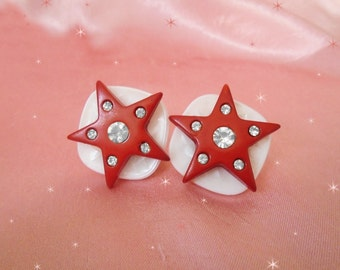 Star Clip on Earrings - One of a Kind Red & White Clip ons with  Rhinestones - Made with Vintage