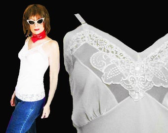 Curvy Lingerie Top is a White Lace Slip Top made with Lavish Vintage Nylon Slip from the 50s, A Lingerie Tank Like No Other Camisole Top