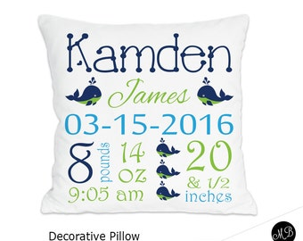Navy and lime  whale name pillow for Baby Boy, personalized baby gift, pillow, baby pillow, name pillow, nursery pillow, CHOOSE COLORS