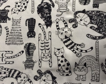 1M Japanese cotton fabric Cat printed one yard