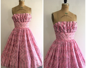 1950s Embroidered Pink Party Dress 50s Strapless Petal Ruffle Bust
