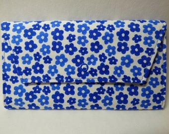 Blue Flowers Fabric Wallet