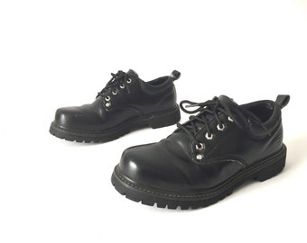 womens size 9 vintage DOC martens style SKECHERS black leather PLATFORM grunge shoes