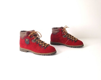 vintage women's hiking BOOTS red LEATHER vintage 80s 90s booties 6 7 shoes