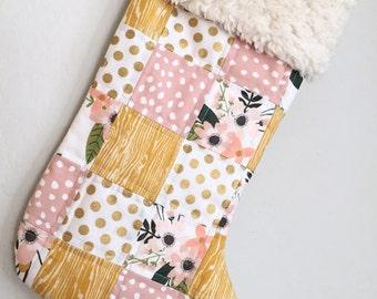 Christmas Stocking. Baby Girl Stocking. Babys First Christmas. Floral Stocking. Christmas Gift. Gold Christmas Decor. Gold Christmas Decor.