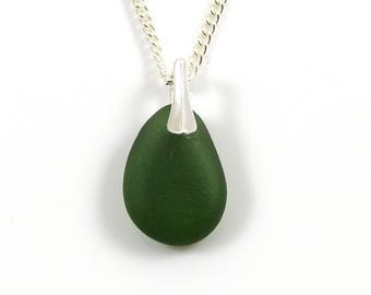 Tiny Kelly Green Sea Glass Pendant Necklace - BEBE - Sea Glass Jewellery - Sea Glass Necklace - Bridesmaid Gift - Wedding Jewellery