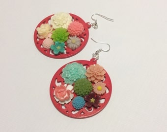 A bouquet of flowers on red wood ornament. Earrings , christmas gift ready to ship!