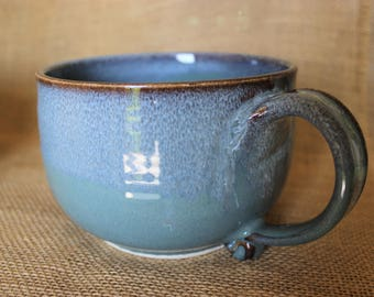 Large soup bowl with handle, wheel thrown, stoneware, Large soup mug, 24 oz