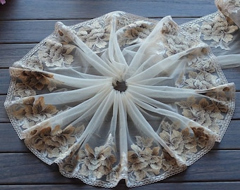 2 Yards Lace Trim Khaki Floral Embroidered Scalloped Tulle Lace 9 Inches Wide High Quality