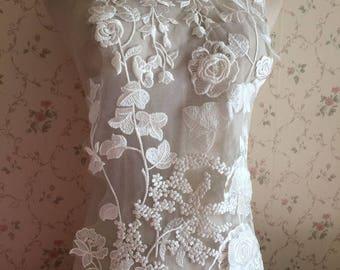 Bridal Wedding Lace Applique Ivory Floral Embroidered With 3D Flowers Lace Applique Exquisite Wedding Dress Bridal Veil Applique 1 PCS