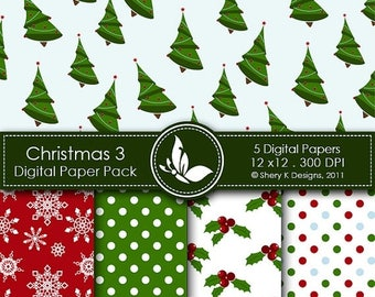 40% off Printable Christmas Paper Pack 3 - 5 Printable Digital paper - 12 x12 - 300 DPI