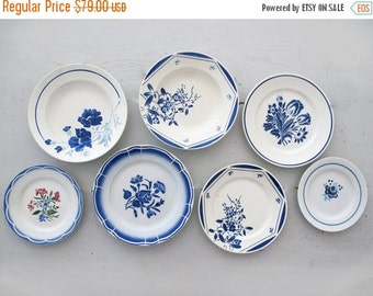 Set of 7 antique French plates flowers stencils ,blue collection, set for wall decor,  decoratives plates french country style kitchen decor