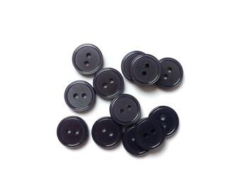 13 Iridescent Grey Vintage Buttons, Flat Buttons, 12mm